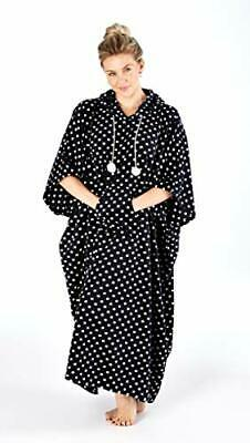 Suzy & Me Ladies Black and White Spot Soft Fleece Poncho. One Size