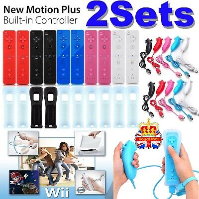 1/2SETS REMOTE CONTROLLER and NUNCHUCK FOR NINTENDO WII &WII U+SILICONE+STRAP --