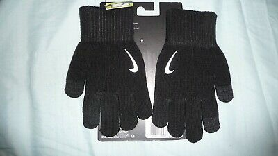 New Nike Juniors Gloves Knitted Tech and Grip Black  white Logo Brand age 7-14