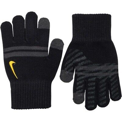 New Nike Juniors Gloves Knitted Tech and Grip Black GOLD  Logo Brand age 7-14