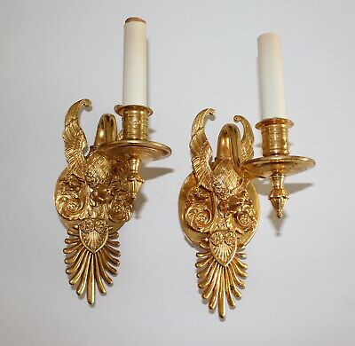VTG & Authentic Sherle Wagner 22K GP Imperial Swan Sconce Set - 7K New
