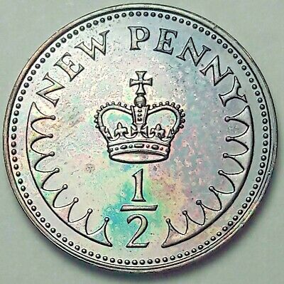 1977 Great Britain 1/2 Half New Penny Proof Choice Color Unc Color Monster (Dr)