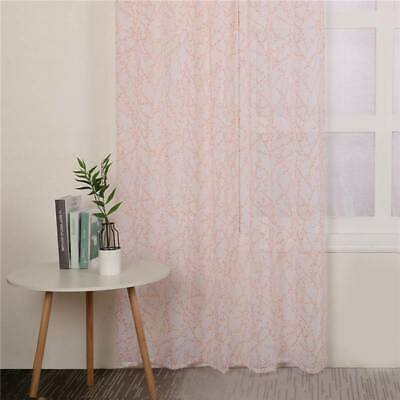 Modern Embroidered  Sheer Voile Net Curtain Eyelet Ring Top Panel Screen Curtain