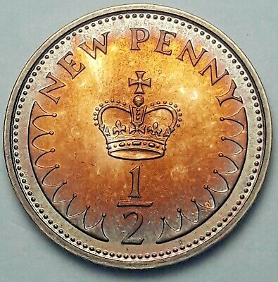 1971 Great Britain 1/2 Half New Penny Proof Color Striking Toned Unc Choice (Dr)