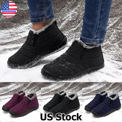 Mens Winter Warm Snow Ankle Boots Winter Fur Lined Waterproof Slip On Shoes Size