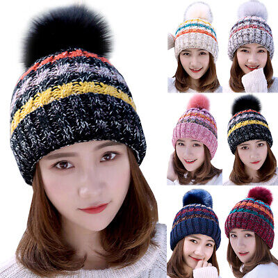 Mens Womens Cable Knitted Bobble Beanie Hat Winter Warm Fleece Lined Ski Cap Pom