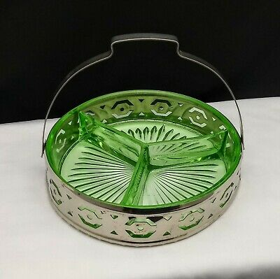 Uranium Green Depression Glass Divided Relish Candy Nut Dish Metal Caddy
