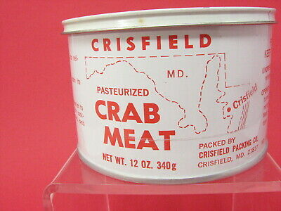 Vintage Eastern Shore CRISFIELD MARYLAND CRAB MEAT TIN CAN Crabmeat w Lid
