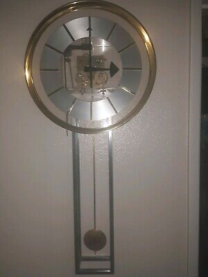 George Nelson & Howard Miller Lucite Chrome & Gilt Bezel Pendulum Chime Clock