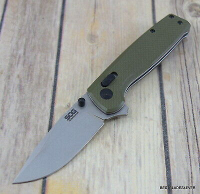 Sog Terminus Xr Crimson Green G10 Folding Knife With Pocket Clip Razor Sharp