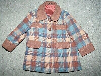 Vintage 50s 60s Kids Blue Brown Check Coat Single Breasted 18 mo - 2year