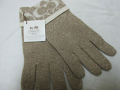 Coach Ladies  Knit Gloves, Camel/Ivory