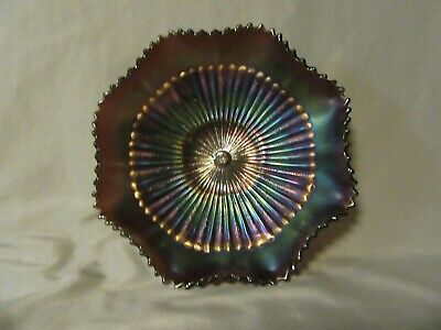 Antique Northwood Carnival Glass Amethyst Ruffled Sawtooth Stippled Ray Bowl