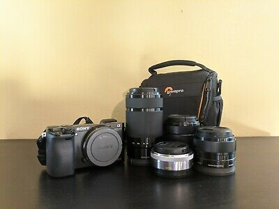 Sony Alpha A6000 24.3MP Digital Camera w/ 4 Prime & Zoom lenses & Travel Case
