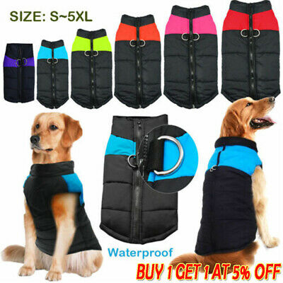 HOT Pet Dog Clothes Waterproof Warm Padded Coat Vest Jacket Autumn Winter USA ·