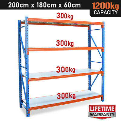 1200kg! 2mx2mx0.6m Garage Shelving Racking. Steel Warehouse Storage Shelves