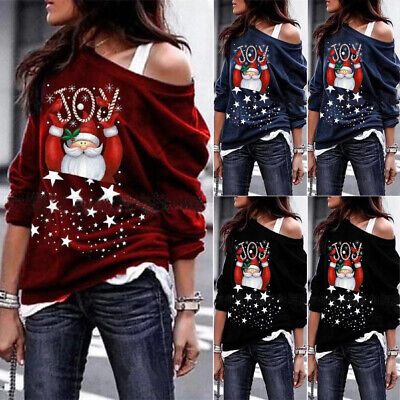 AU Christmas Women Santa Claus Clothes Top Casual Pullover Jumpers Warm Sweater