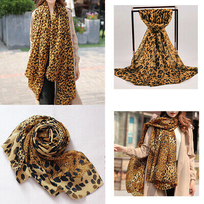 Ladies Large Brown Animal Leopard Print Scarf Autumn Soft Chiffon Shawl Wraps