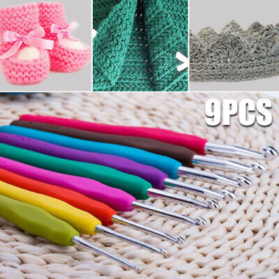 9pcs Soft Plastic Handle Aluminum Crochet Hook Needles Knitting Knit 2-6mm Set