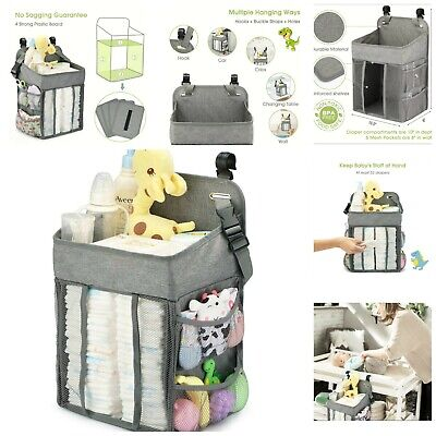 Baby Hanging Diaper Stacker Changing Table Diaper Organizer Caddy Storage Gray