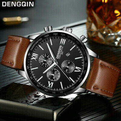 Men's Leather Military Casual Analog Quartz Date Wrist Watch Business Watches