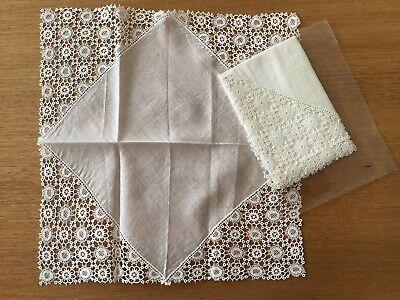 Vintage Pair Ladies White Cotton Handkerchiefs - Crocheted Lace Corners & Edges.