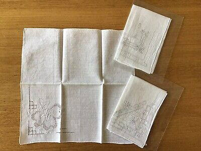 Vintage Ladies White Linen Embroidered Drawnwork Handkerchiefs - 3 Pieces Floral