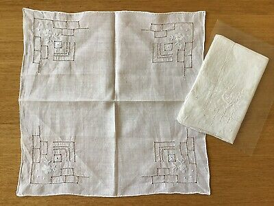 Vintage Pair Of Ladies Linen Embroidered Drawnwork Handkerchiefs.
