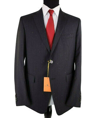 ETRO NWT Suit Size 46R In Black with Pinstripes