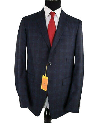 ETRO NWT Suit Size 40L In Dark Blue and Blue Plaid