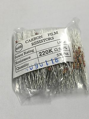 Resistor 220K Ohm 1/4 W 5% Carbon Film 100pcs