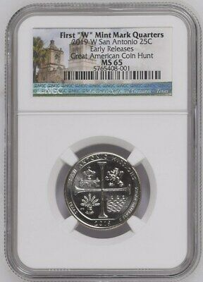 2019 W San Antonio 25c Early Releases NGC MS 65 Great American Coin Hunt