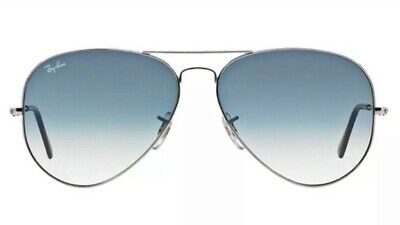 Ray-Ban Aviator Sunglasses Silver Frame Blue Gradient Lenses RB3026 003/3F 62mm
