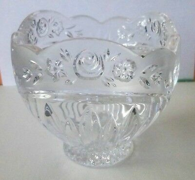 Clear Crystal Glass Candy Dish Bowl Scalloped Footed Open Frosted Floral