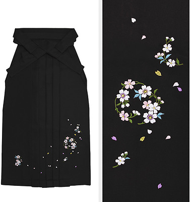 Japanese Women's Traditional Kimono Embroidery HAKAMA Skirt Sakura Black Japan