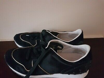 TOD'S Black Suede Leather/ Fabric Womens Casual Shoes Trainers ITALY Size 41