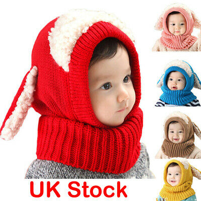 Kids Girls Boys Toddler Baby Winter Warm Hat Hooded Scarf Earflap Knitted Cap UK
