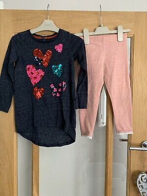 Pretty Next Girls Outfit Age 5 Years / Leggings & Heart Sequin Top
