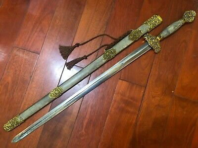 "Collectable Old Handmade Chinese Talisman ""Jian"" Sword Sharp Old Blade"