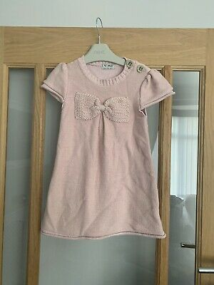 Next Girls Dusky Pink Knitted Bow Dress 3-4 Years