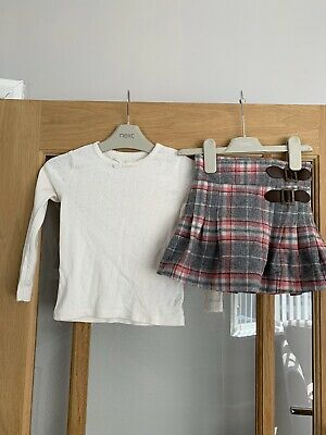 Next Girls Winter / Xmas Outfit 2-3 Years Tartan Skirt & Long Sleeved Top