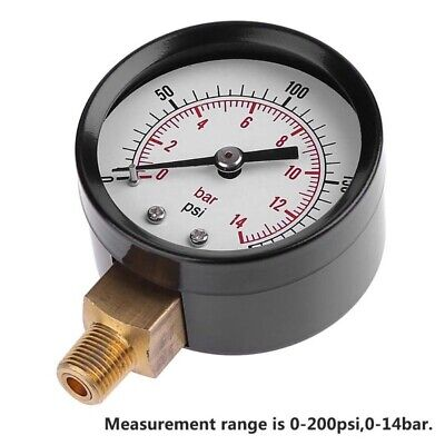 "FM_ QA_ 0-200psi 0-14bar 2inch Dial Air Pressure Gauge 1/8"" NPT Side Mount Manom"