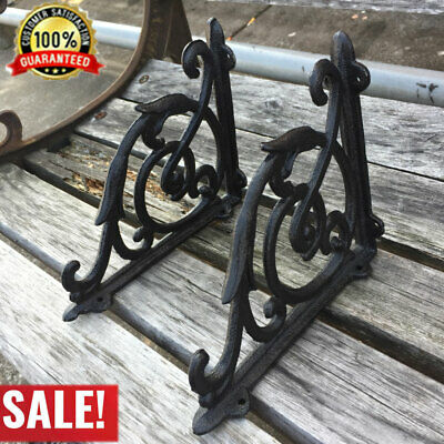 A Pair Antique Style Cast Iron Brackets Garden Braces Rustic Shelf Bracket Black
