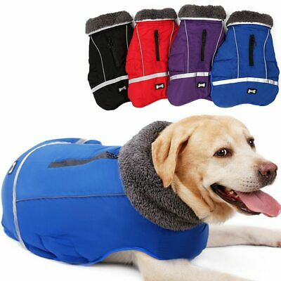 Warm Thick Fur Dog Clothe Large Dog Winter Waterproof Pet Coat Jacket Reflective