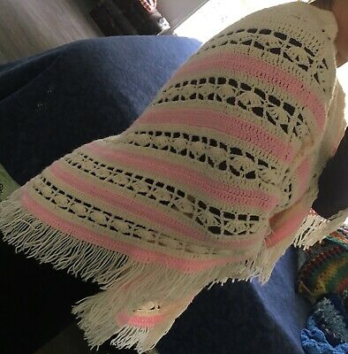 Crochet Poncho Handmade Buy Local - Hippy/Bright Stylish Pink / Cream 70's