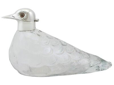 Vintage Glass and Sterling Silver Mounted 'Bird' Claret Jug by Asprey & Co Ltd