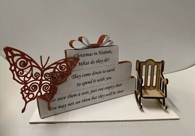 Christmas In Heaven Block Set With Chair wooden decoration, Memorial Christmas