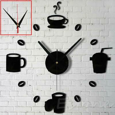 3D Acrylic Mirror Style Coffee Wall Clock Sticker Fashion DIY Modern Design