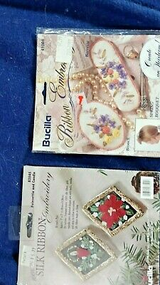 Two Bucilla Silk Ribbon Embroidery Spring Bouquet & Poinsetta & candle
