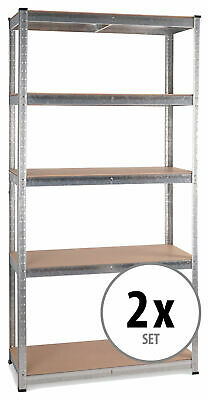 2x Shelf Brackets 5 Tier Shelves Storage Unit Racking Industrial Home Wooden